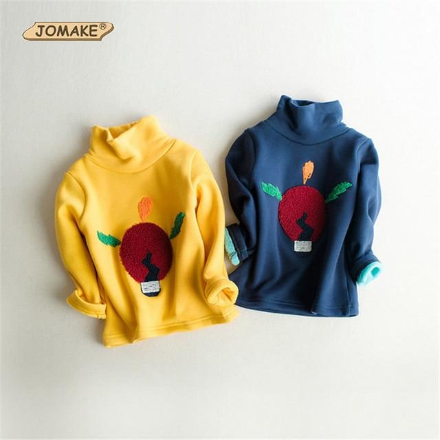 Winter Cartoon Light Bulbs Children Turtleneck Sweatshirt Thick Long Sleeve Pullover T-Shirt Baby Girls And Boys Clothing