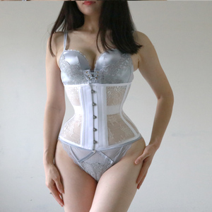 Image 5 - Annzley Corset Slimming Before And After Black Mesh Steel Boned Underbust Corset For Weight Loss