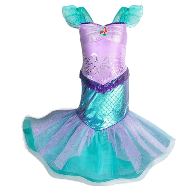 FINDPITAYA Girl Little Mermaid Fancy Dress Kids Photography Tulle Ariel Cosplay Princess Costume Girls Christmas Party Long Gown