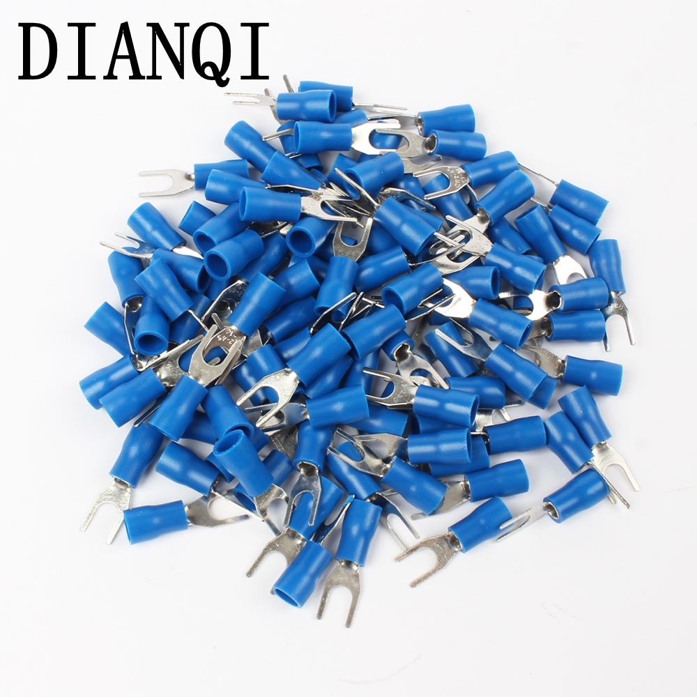 SV2-4 Blue Furcate Cable Wire Connector 100PCS/Pack Furcate Pre-Insulating Fork Spade 16~14AWG Wire Crimp Terminals SV2.5-4 SV монитор nec 30 multisync pa302w sv2 pa302w sv2