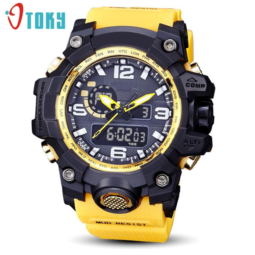 OTOKY Men's 43cm Dial Resin Case Waterproof Diving Extreme Sports Multi-color Fashionable Outdoor Sports Watch +BOX Gao11(China)