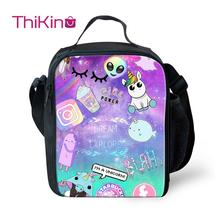 Thikin Alien Cartoon Cooler Lunch Box Portable Insulated Bag Tote PouchThermal Food Picnic Bags For Women Kids