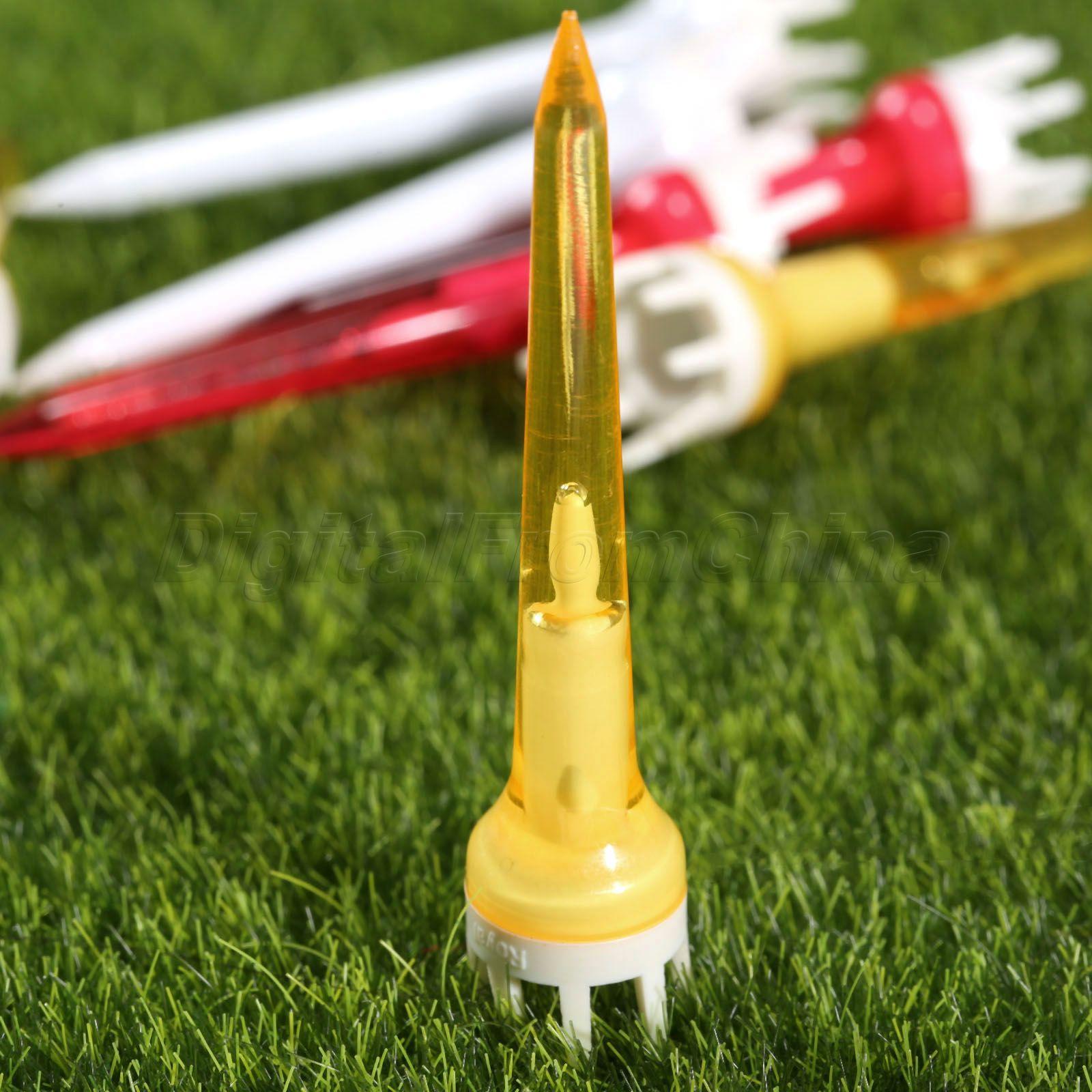 100 unids Coronas Golf Tees de Refuerzo De Plástico Rojo Transparente 62mm Reduc