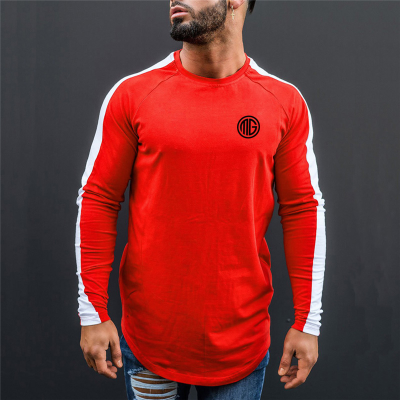 Muscleguys Brand Clothing Cotton Men's Long Sleeve   T     Shirt   Men Slim Fit Tops Tees 2018 Fashion Autumn and Winter Casual   T  -  Shirt