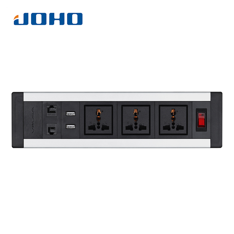 JOHO Desktop Sockets 3 Sockets 2 RJ45 Dual USB Charger Switch Universal Tabletop Socket for Computers Desktop Data Cable universal three inserted multifunctional tabletop french socket with rj45 black silver free shipping