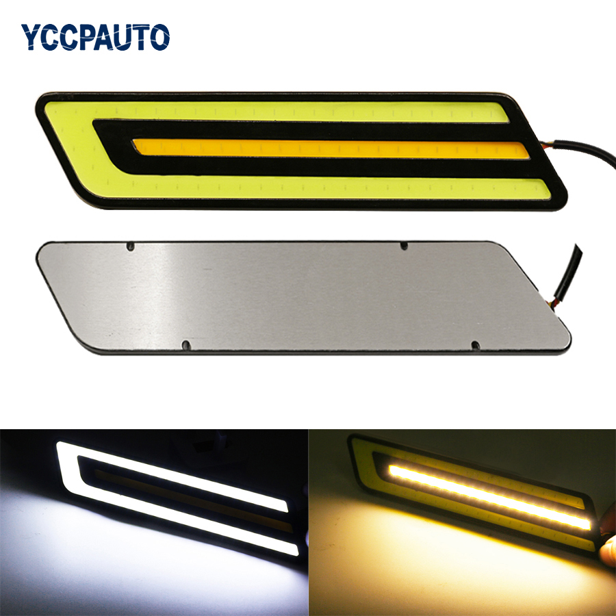 цены YCCPAUTO Car DRL Daytime Running Lights LED Dual Color Styling External Waterproof White/Yellow Led Light Source Fog Light DC12V