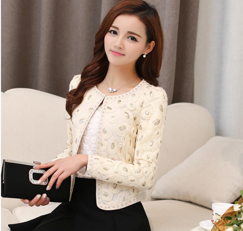 Fashion Women'S Spring And Autumn Embroidered Small Jacket Casual Round Neck Patchwork Rivet Short Suits Beige Coat S/2Xl J418