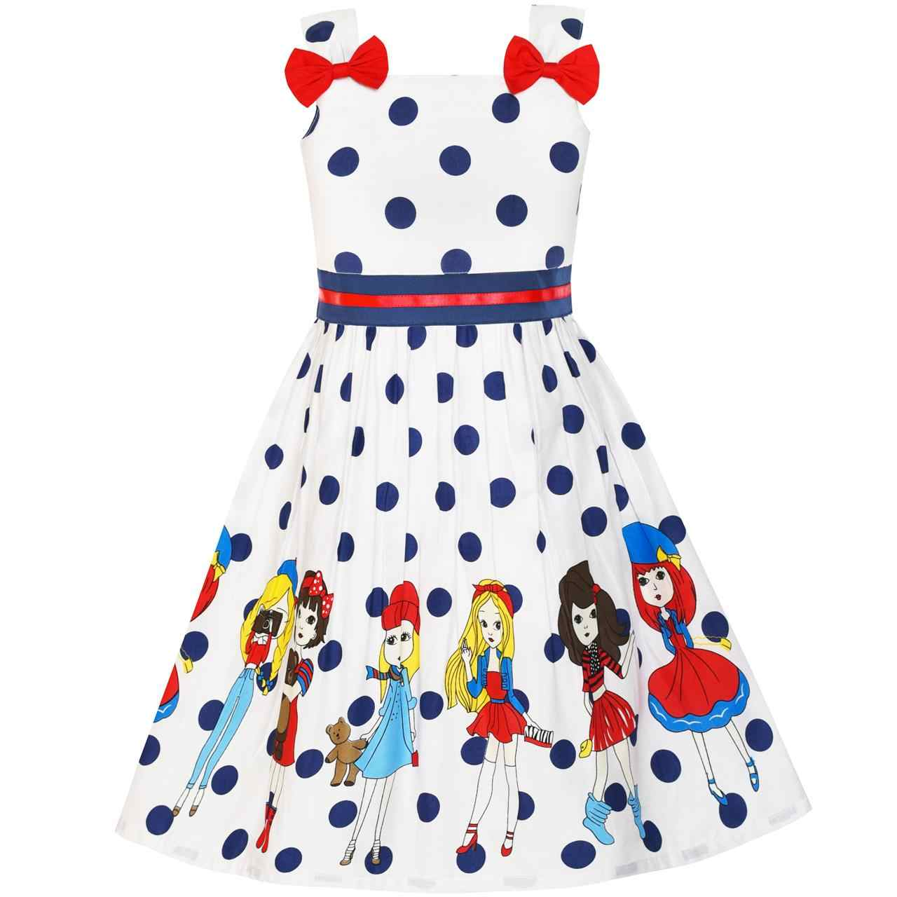 Sunny Fashion Vestido Menina Desenho animado Ponto Gravata-borboleta verão Sundress