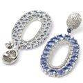 Larga Grandes Ricos Violeta Azul Tanzanita, blanco CZ SheCrown Creado Pendientes De Bodas De Plata de la Mujer 55x27mm