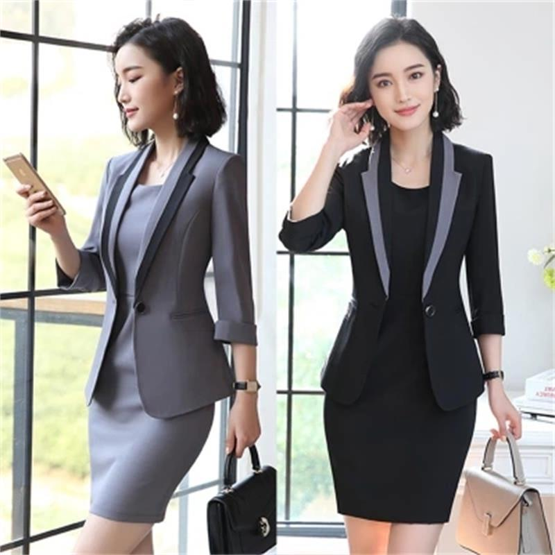 MUZI 2019 Hot Ladies Dress Suit For Work Full Sleeve Blazer Sleeveless Dress 2 Pieces Set For Businesss Women Suit 001