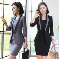 MUZI 2019 Hot Ladies Dress Suit for Work Full Sleeve Blazer Sleeveless Dress 2 Pieces Set For Businesss Women Suit 001