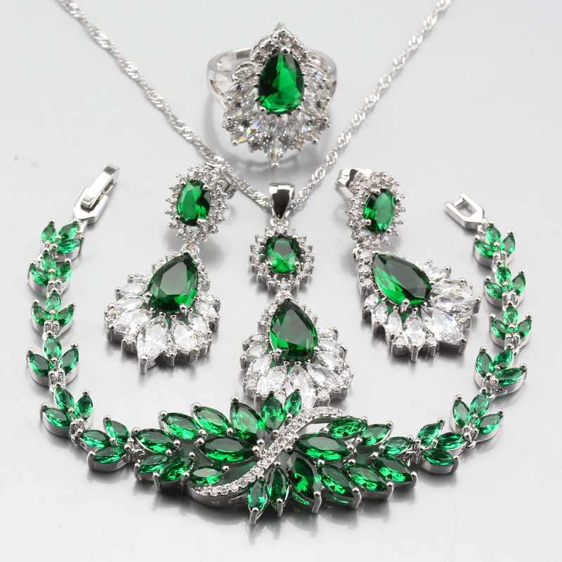Austria Crystal With Natural Stone Green CZ Jewelry Sets of 925 Sterling Silver Dubai Women Weeding Costume Sets
