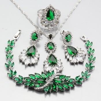 Conjuntos de joyería CZ de cristal de Austria con piedra Natural verde de 925 marca de Color plateado Dubai, conjuntos de disfraces de mujer