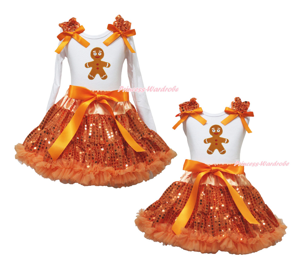 Christmas Ginger Man White Top Orange Bling Sequins Girls Skirt Outfit Set 1-8Y rhinestone my 1st christmas hat white top leopard minnie girls skirt outfit 1 8y