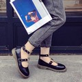 Harajuku Solid Women Shoes Retro Hollow Out Mary Jane Flat Shoes Lolita Woman Flats Heart Buckle Strap Round Toe Thick Bottom