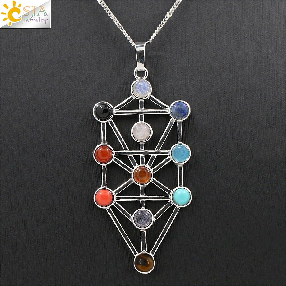 CSJA 2016 Amulet Symbool 7 Chakra Piramide Healing Point Wichelroede 11 Stone Reiki Charms Slinger Sieraden Hanger Ketting Gift E040