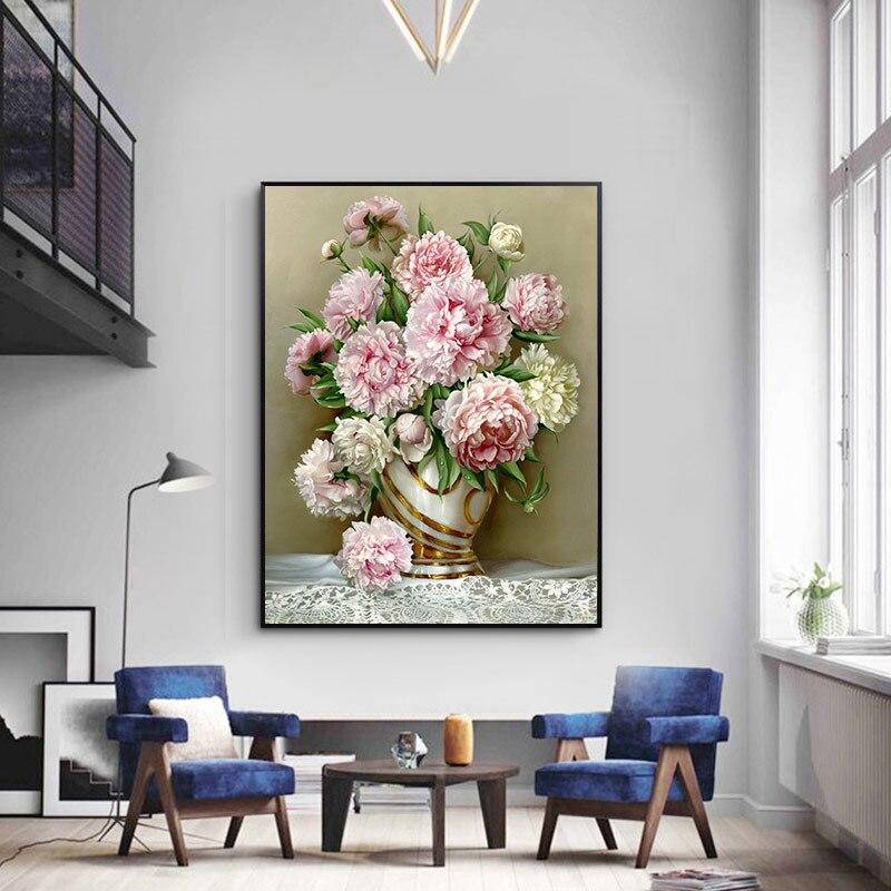 Meian Cruz puntada bordado Kits 14CT flor escénica hilo de algodón pintura DIY costura DMC decoración casera del Año Nuevo VS- 0009