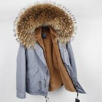 2018 Новый Для женщин зимняя куртка теплая верхняя одежда натуральный воротник из меха енота натурального меха куртка отделимые подкладкой и