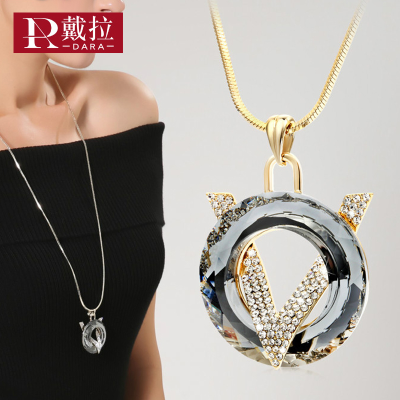 DARA New Fashion Women Noble Long Necklace Champagne Gold Chain Crystal Pendant Necklace Swearter Chain For Wedding Jewelry Gift