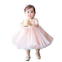 2018 Cute Pink Baby Girls Tutu Dress Chiffon Sleeveless Newborn Infant Birthday Party Gifts Bowknot Lace Tutu Dress For Baby