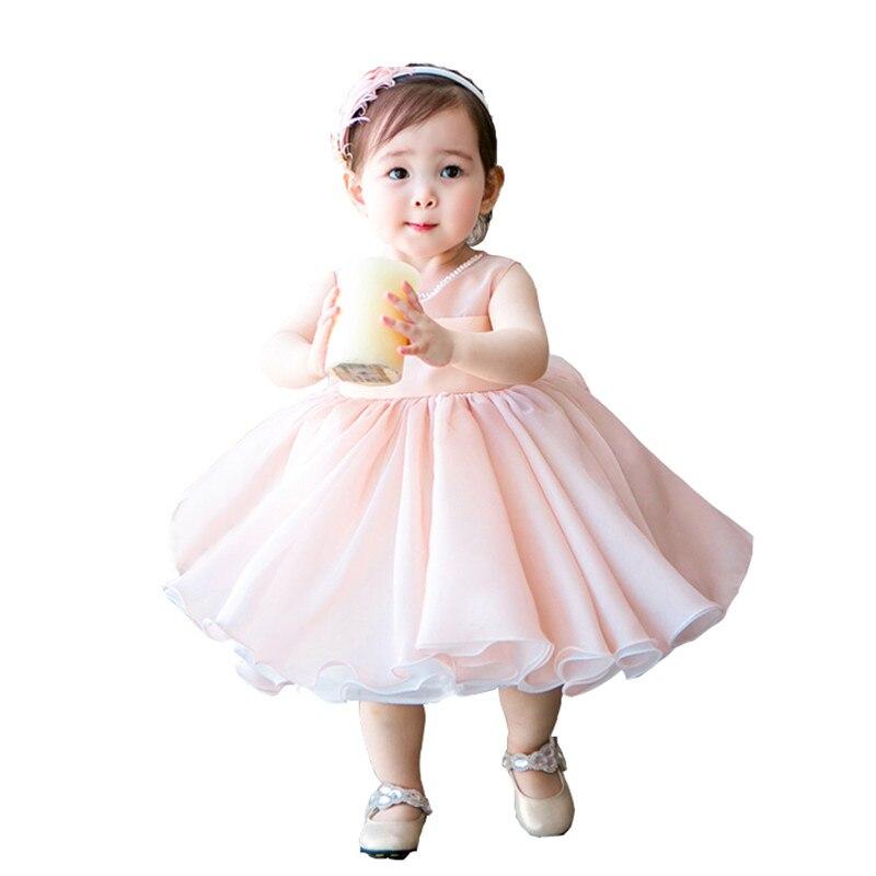2018 mignon rose bébé filles Tutu robe en mousseline de soie sans manches nouveau-né infantile fête d'anniversaire cadeaux Bowknot dentelle Tutu robe pour bébé