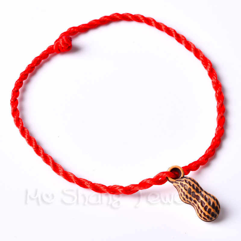 Fashion Peach Wood Red Rope Chain Bracelet Thread String Lucky Handmade Rope Bracelet For Women Men Jewelry Lover Couple Gift