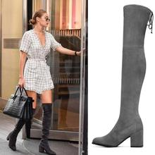 Ioutfit Women Stretch Suede Thigh High Boots Sexy Fashion Over the Knee Boots High Heels Woman Shoes Black Slim Fit Botas Mujer