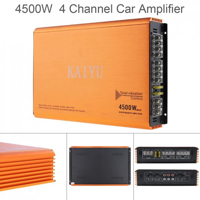 Best Offers 4500W ! 12V  High Power Class AB Digital 4 Channel Aluminum Alloy  Car Stereo Amplifiers  for Car / Home