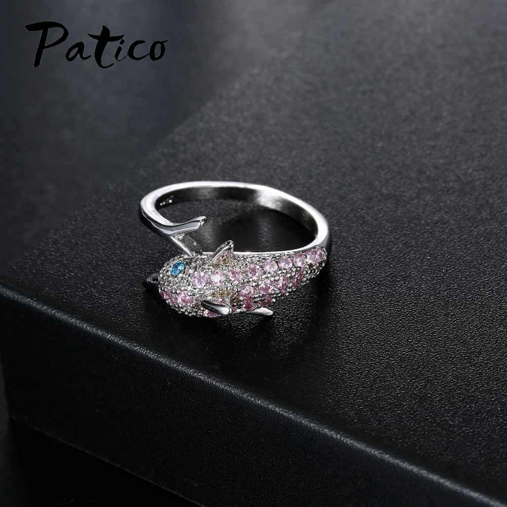 Luxury 925 Sterling Silver Ring for Women Girl Gift Pink Cubic Zircon Blue Eyes Dolphin Austrian Crystal Party Bague
