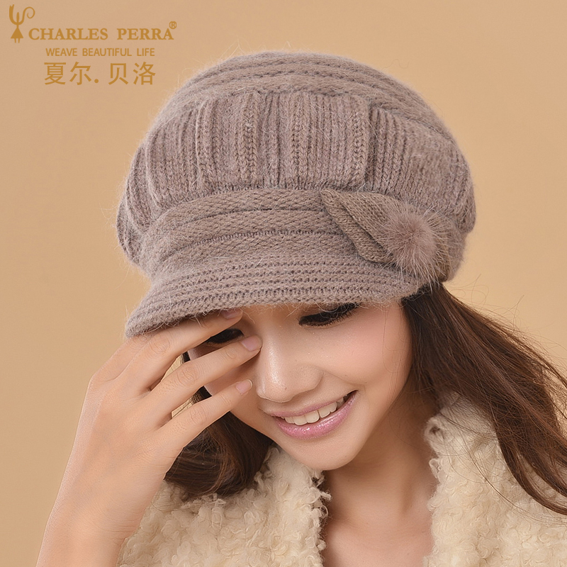 Charles Perra Women Knitted Hats Winter Thicken Double Layer Ear Protection Casual Wool Women's Hat Warm Female Beanies CD63