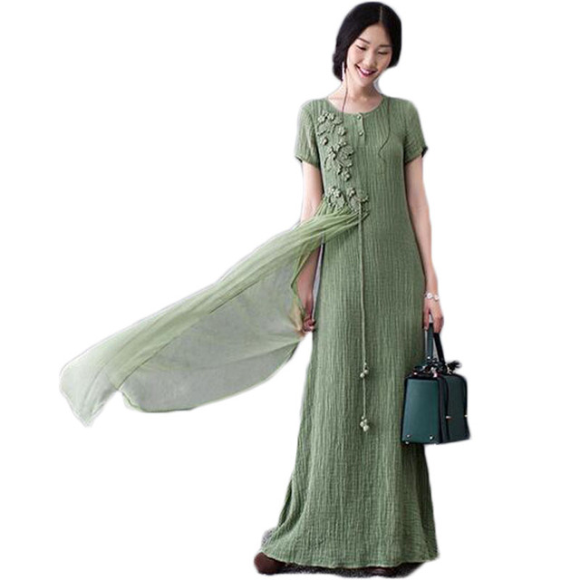 Summer Dresses Women 2016 Cotton Linen Casual Maxi Dress Vintage