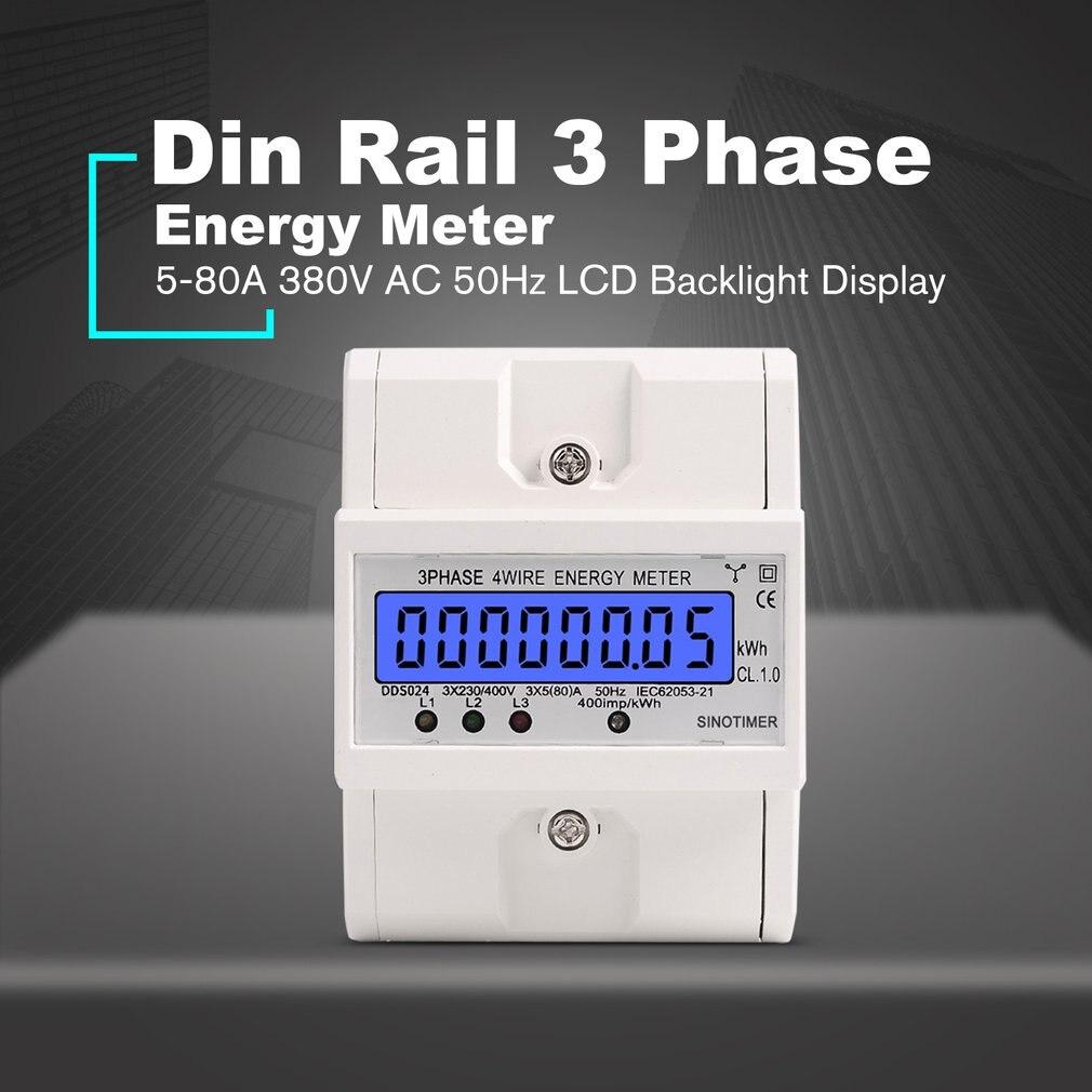 Compteur d'énergie de consommation d'énergie de Watt électronique de fil de 3 phases 4 de Rail de Din wattmètre kWh 5-80A 380 V AC 50Hz affichage de contre-jour d'affichage à cristaux liquides