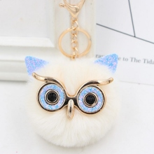 Wholesale Cute Rhinestone Owl Keychain 23 Colors Lovely Fur Pompom Animal Owl Key Chain Women Bag Charm Pendant Car Key Rings цена 2017