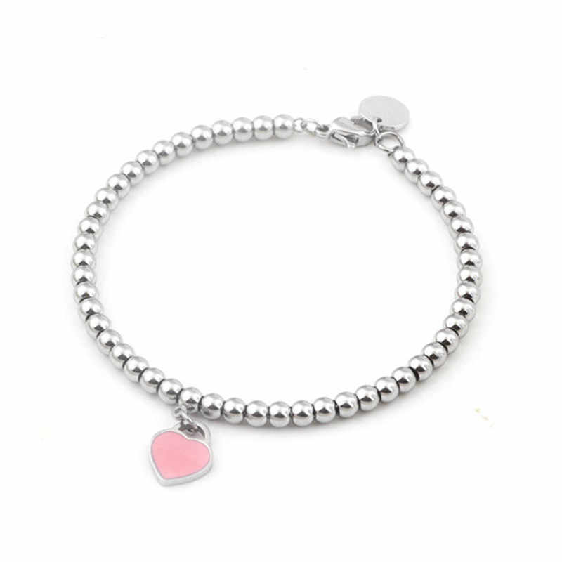 2019 Rvs Beads Women's Bracelet Gift Girl Whose Jewelry Accessories Necklace Heart Pink Original Personalized Bracelets