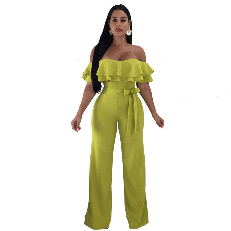 e719153d22fb Elegant Ruffle Off The Shoulder Jumpsuit Women Sexy Overalls Party Club Wide  Leg Jumpsuits Summer Rompers