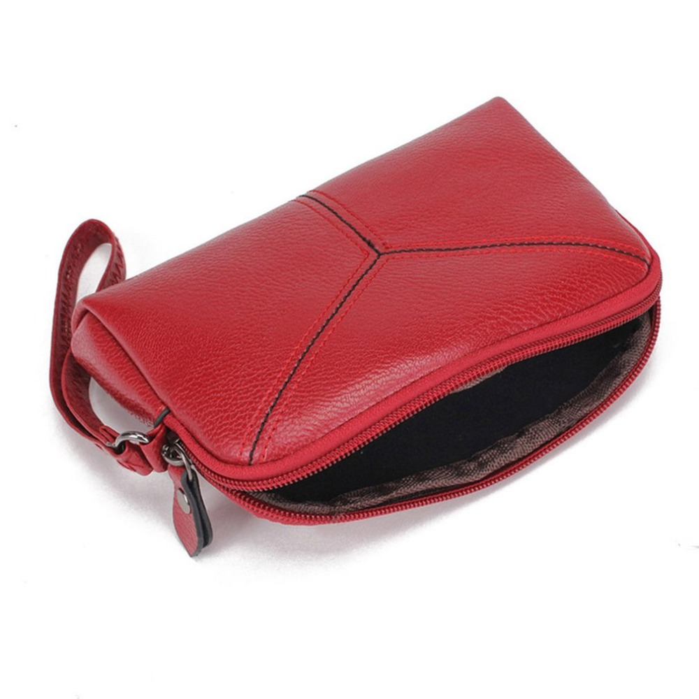 Womens Purse Lady Elegant Solid Color Simple PU Leather Wallet Purse Zipper With Wrist Strap Woman Small Handbag ZX361301