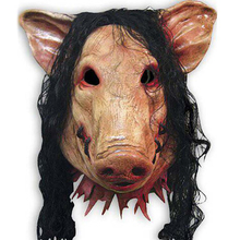 Halloween Scary Masks Novelty Pig Head Horror With Hair Caveira Cosplay Costume Realistic Latex Festival Supplies Mask