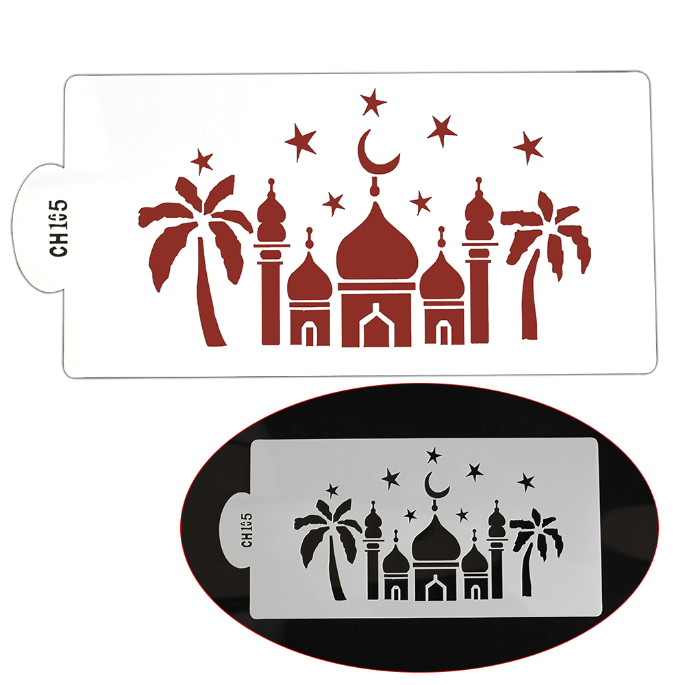 1Pcs Arab Palace Cake DIY Decorating Stencil, Fondant cake Pattern Printing Printing Spray Template Designing Mold