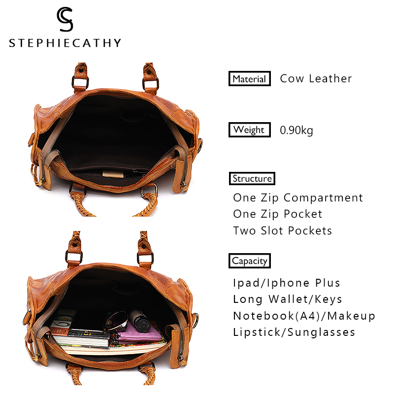 Image 2 - SC Large Women Leather Bags Female Retro Vintage Italian Leather Shoulder Tote Bag for Girls Large Capacity Luxury Designer-in Shoulder Bags from Luggage & Bags