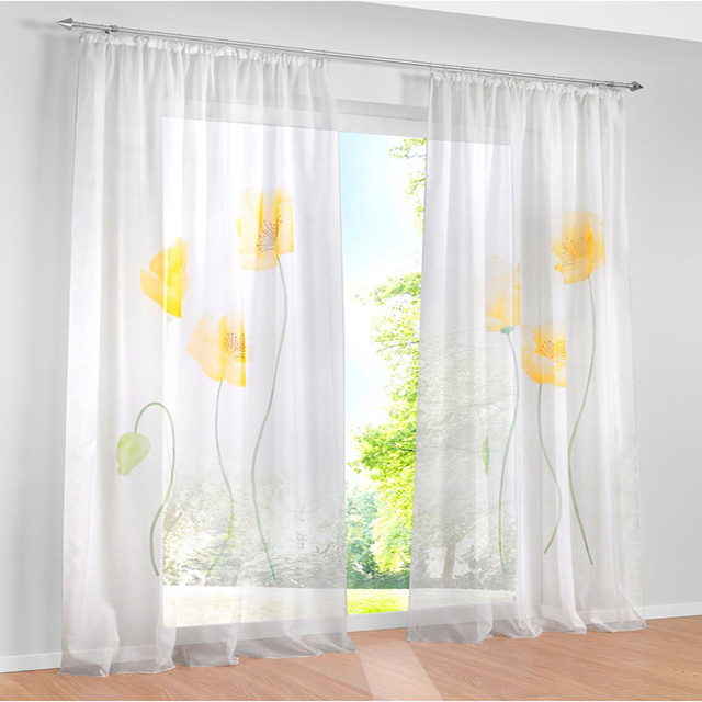yellow curtains for bedroom. 2017 tulle curtains for bedroom yellow flower christmas window curtain  living room organza sheer rideaux