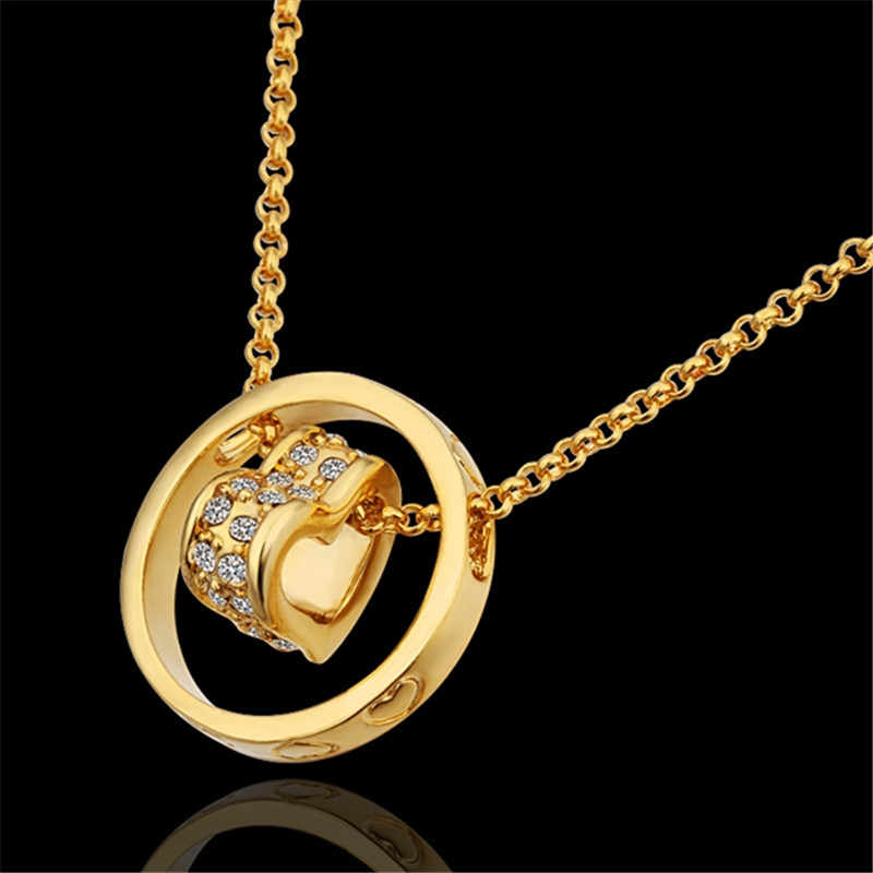 Hot charm jewelry plated  gold circle pendant necklace with zircon Nice Valentine's Day gift top quality classic style
