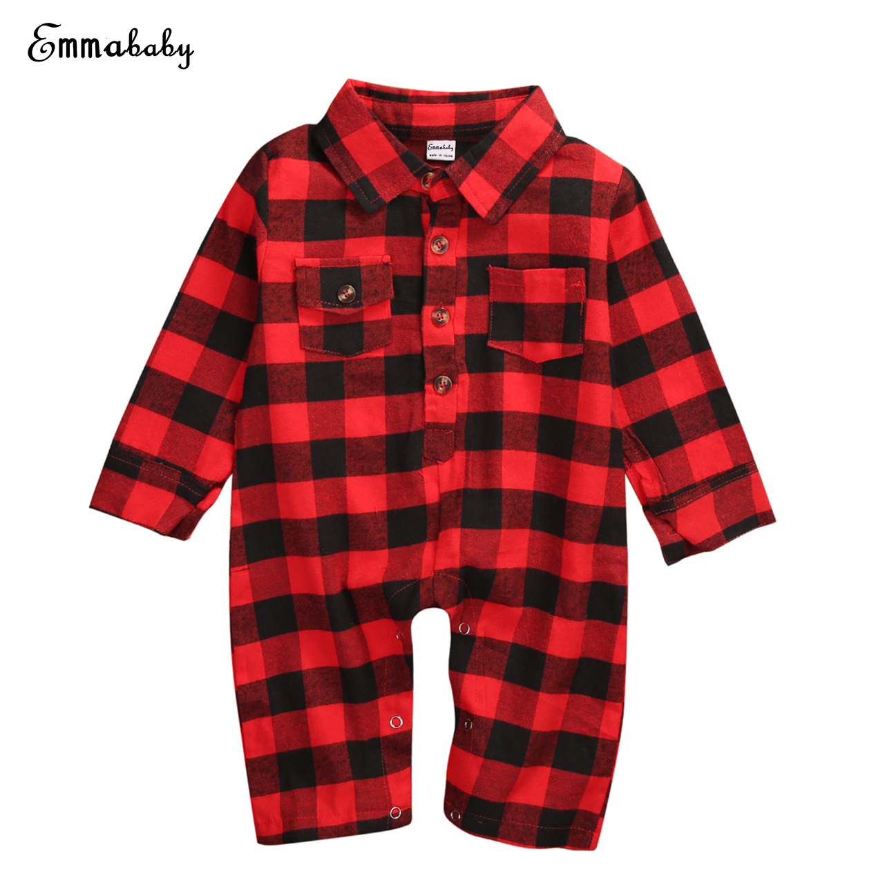 Autumn Toddler Infant Baby Boys Girls Long Sleeve Romper One Piece Red Plaid Jumpsuit Fashion Babies Boys Clothes Outfits