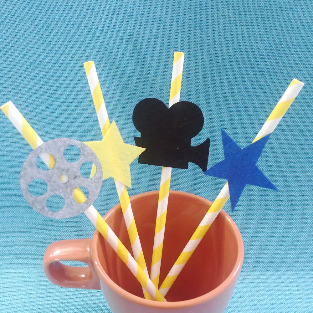 10pcs Hollywood Movie Paper Straw Felt Flag Birthday Party Decoration Bunting supply fabric image