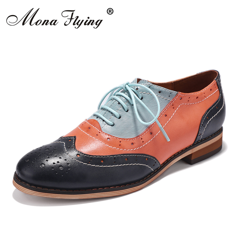 Women Flats Oxfords Brogue Shoes 2018 Mixed Color Genuine Leather Women Lace-up Casual Brogue Shoes for Women Handmade Shoes 2018 vallu women brogue shoes wingtip perforated round toes lace up genuine leather vintage oxfords women flats shoes plus size