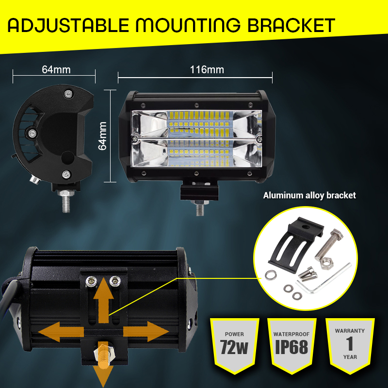 Image 4 - LED Car Work Light Bar 5 Inch 72W Dual Row 6000K Offroad 4x4 Driving Light 12V Fog Light for Tractor Truck Boat UTV SUV Lamps-in Light Bar/Work Light from Automobiles & Motorcycles