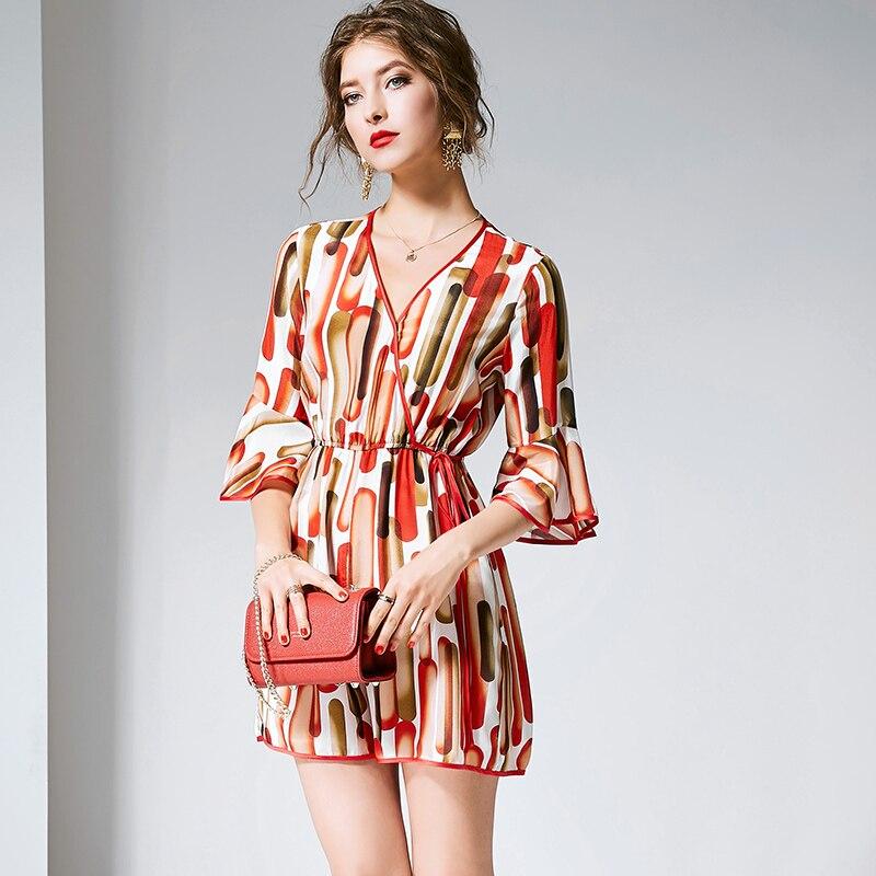 Playsuits Women 100 Silk Printed V Neck Flare Sleeves High Elastic Waist Regular Simple Design New