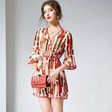 2019 ネックフレア袖高正規シンプルなデザインファッション夏 ジャンプスーツの女性 100%