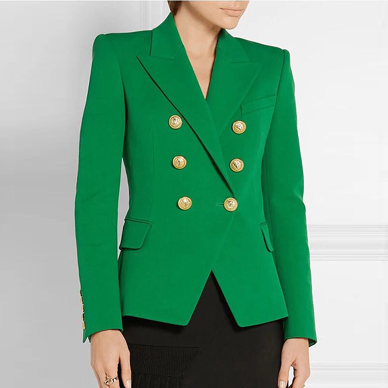 EXCELLENT QUALITY New Fashion 2020 Designer Blazer For Women Ladies Lion Buttons Double Breasted Woven Career Blazer Jacket