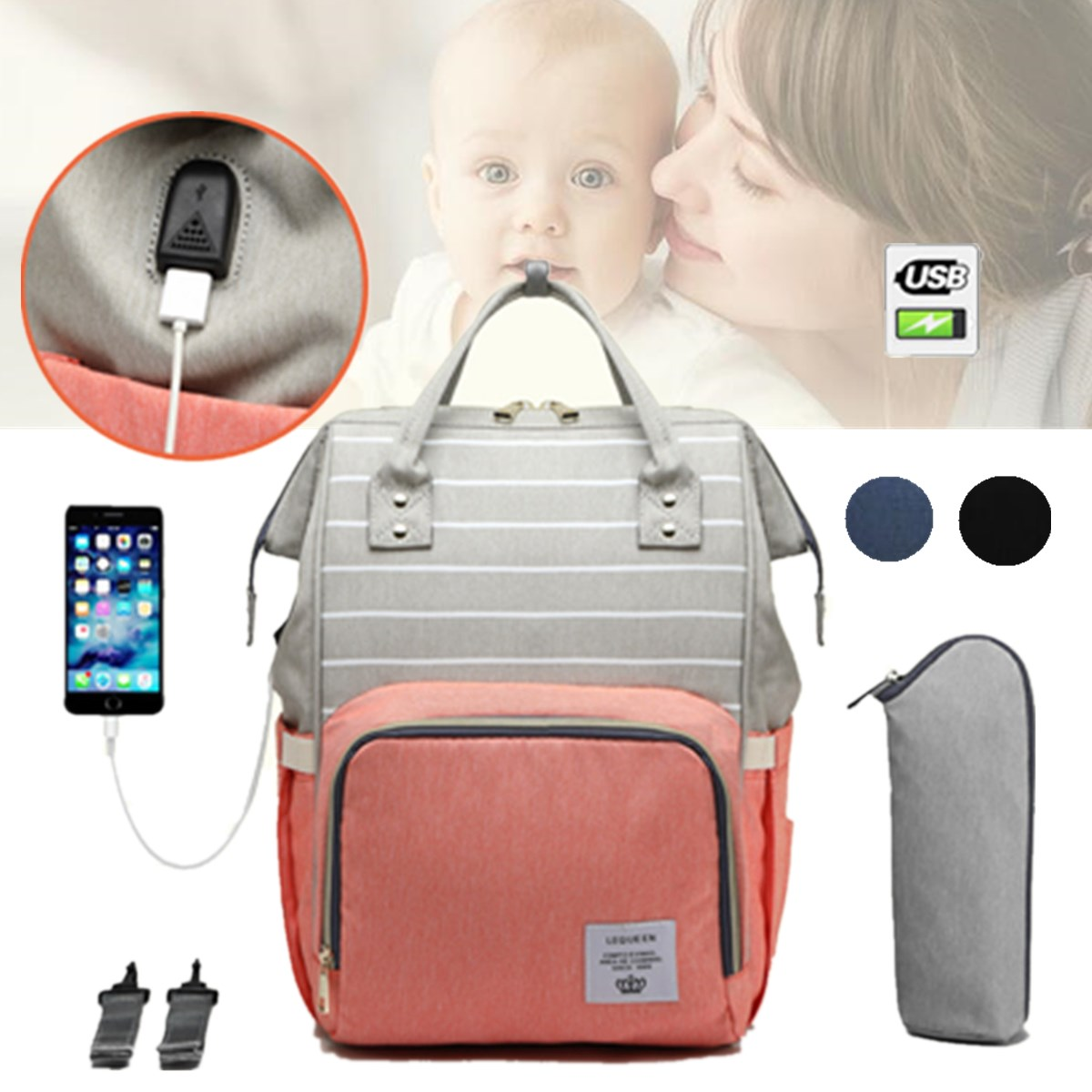 2019 Nappy Backpack Bag Mummy Large Capacity Bag Mom Baby Multi-function Waterproof Outdoor Travel Diaper Bags For Baby Care2019 Nappy Backpack Bag Mummy Large Capacity Bag Mom Baby Multi-function Waterproof Outdoor Travel Diaper Bags For Baby Care