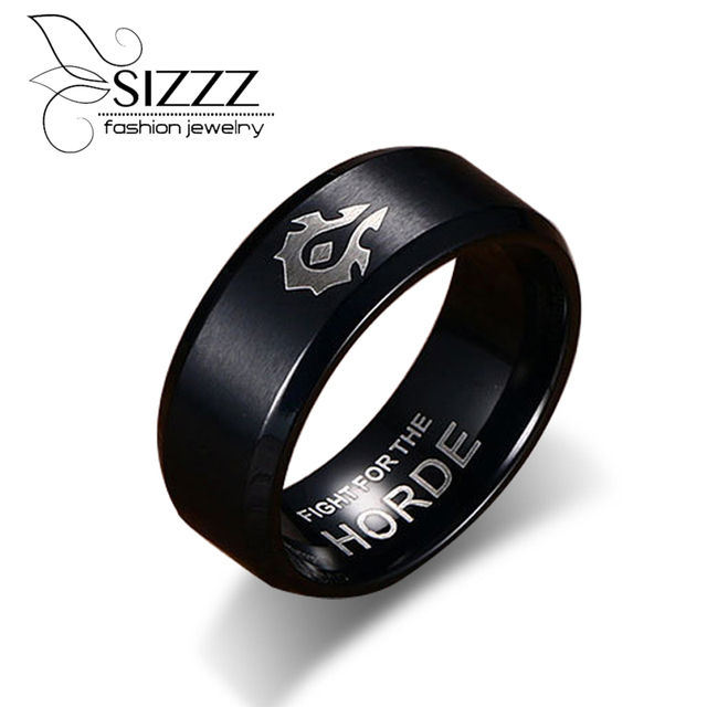 SIZZZ World of Warcraft Horde Alliance Black Gold Ring Titanium